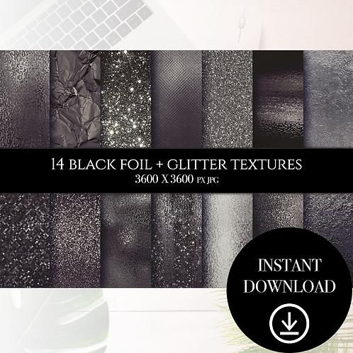Black Foil + Glitter textures