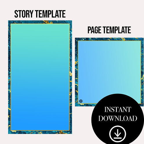 (2)Premade Template(teal)-Instant Download
