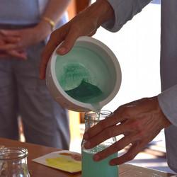 Grinding malachite