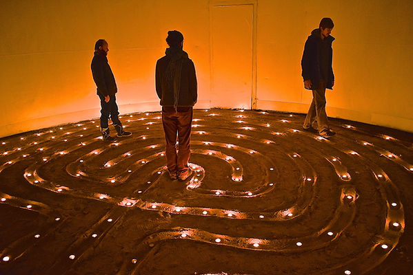 Walking the candle-lit labyrinth