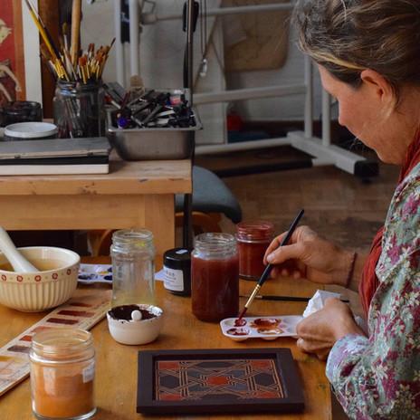 Zouaq (egg tempera) Painting at SAOG Studios