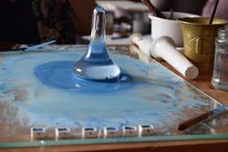 Grinding lapis lazuli