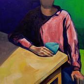 Homem Sentado com Blusa Vermelha, 2018 oil on canvas 80 x 80 cm (31.5 x31.5 in) Photo: André Conti