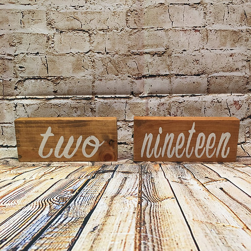 Wood Table Numbers - Cursive