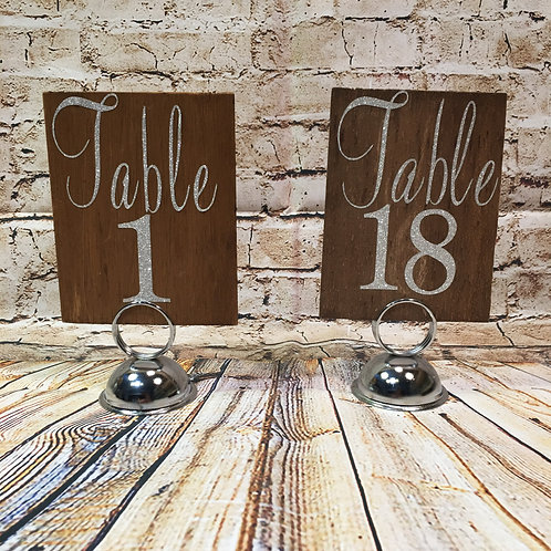 Wood Table Number w/ Stand