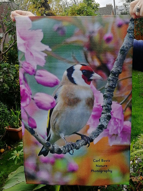 Tea Towel - Goldfinch in Cherry Blossom
