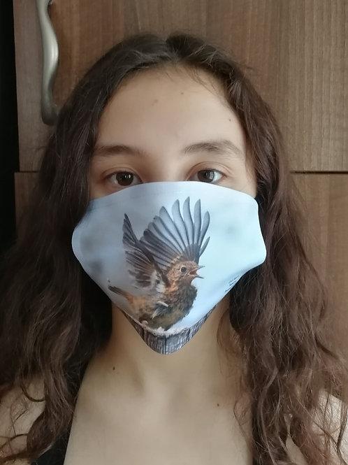 Face mask - 'Surprised juvenile Robin'