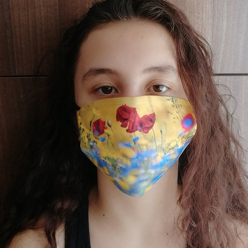Face mask - Poppies and wildflowers