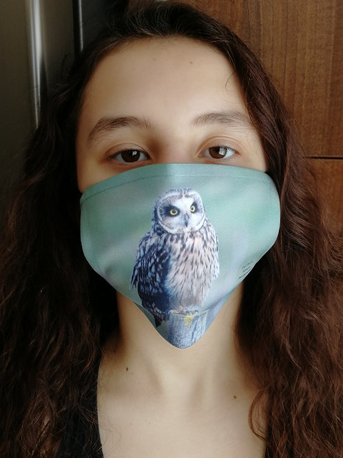 Face mask - 'Short Eared Owl on a post'