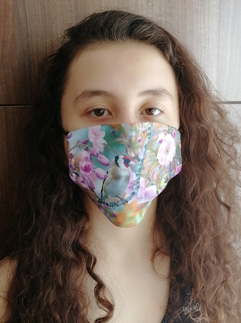 Face mask - Goldfinch in cherry blossom