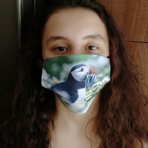 Face mask - 'Puffin in Daisies'
