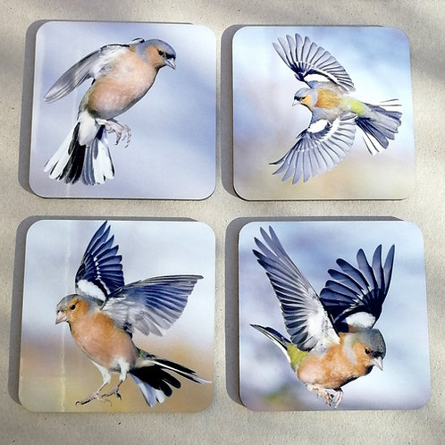 Set of 4 'Chaffinches in flight' coasters