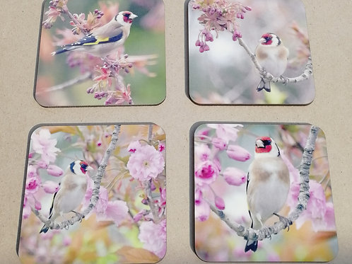 Set of 4 'Goldfinch & cherry blossom' coasters