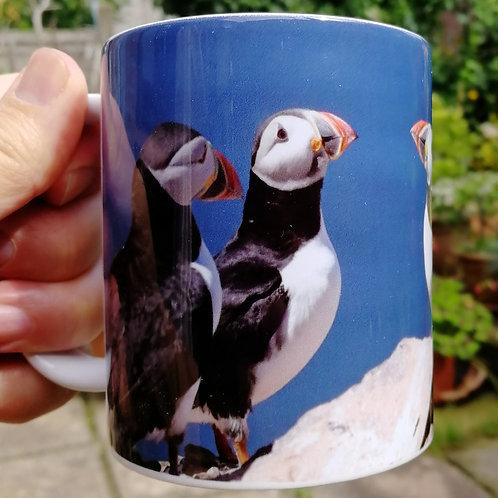 Puffins in conversation - tea/coffee mug