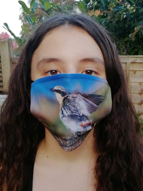 Face mask - Wheatear wing stretch