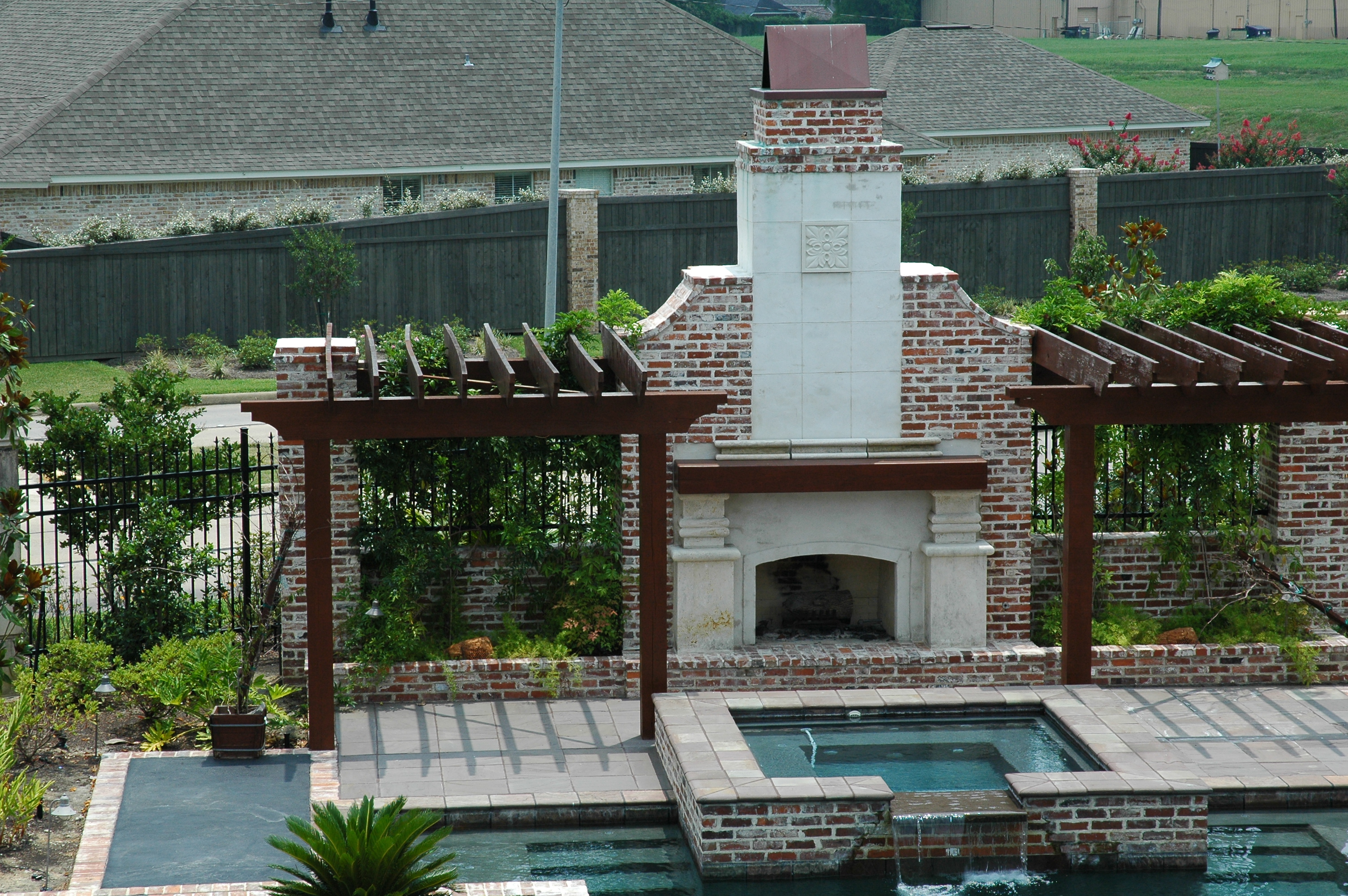 Pool Side Fireplace