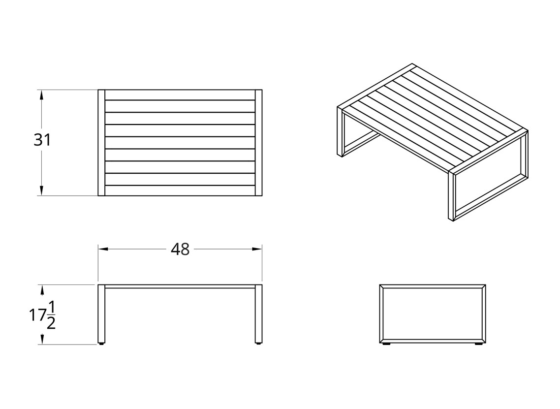 Dodeka- Premise coffee table dimensions.