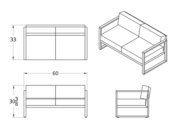 Dodeka- Premise love seat dimensions