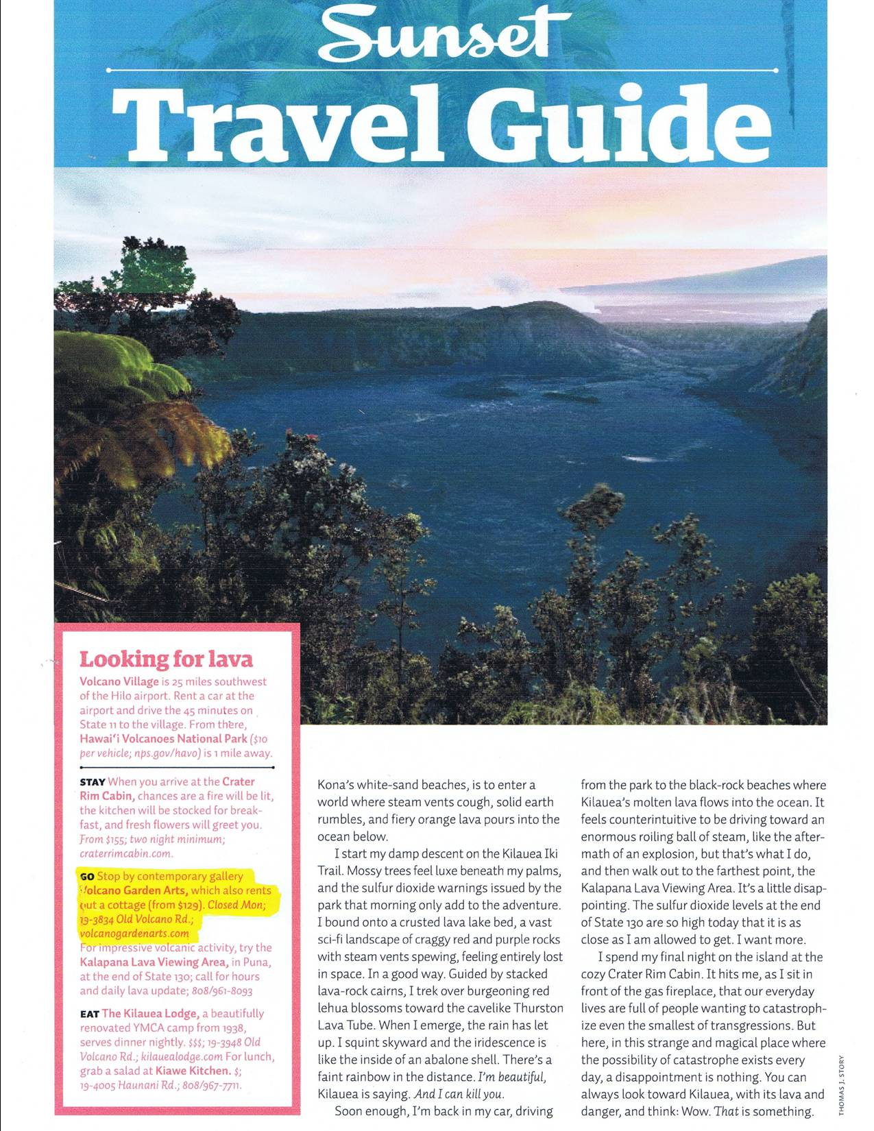 Sunset Travel Guide Article