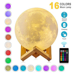 USB Rechargeable 3D Print Moon Lamp Nigh