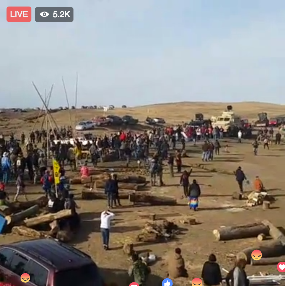 Militarized police move in on Water Protectors.
