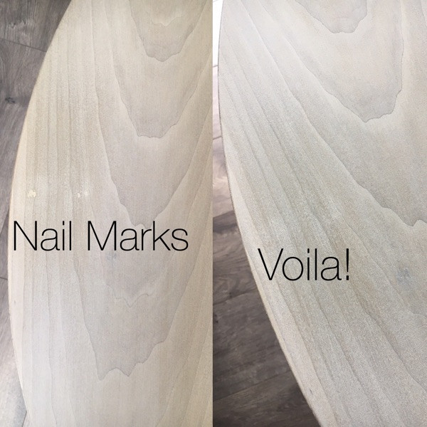 Top showing nail marks and fix