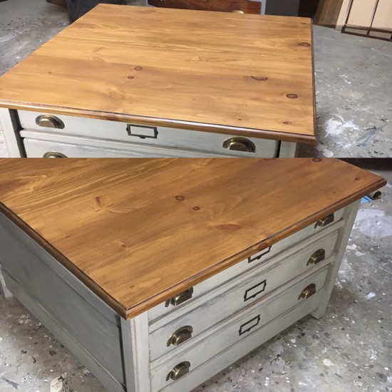 Before and After top of Printer's Cabinet Coffee Table