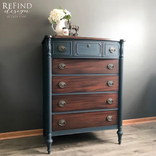 Gorgeously refinished in navy blue and Java.