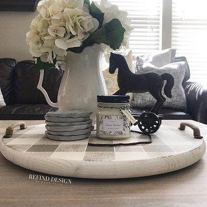 Linen Buffalo Check Coffee Table Tray