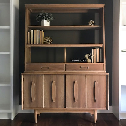 Mid Century Modern Natural Walnut China Cabinet