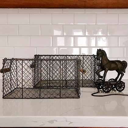 Vintage Inspired Wire Baskets Set of 2