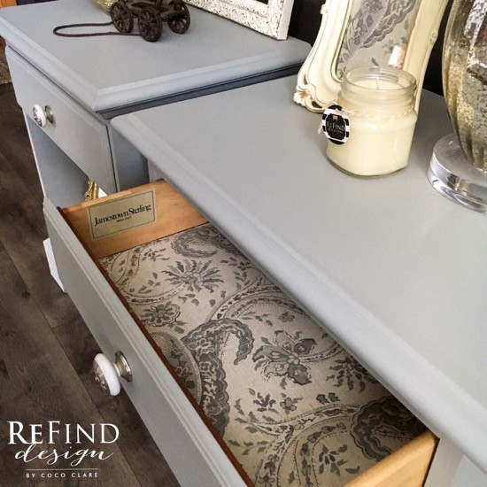 nightstand redesigned (shabby chic drawer liner)