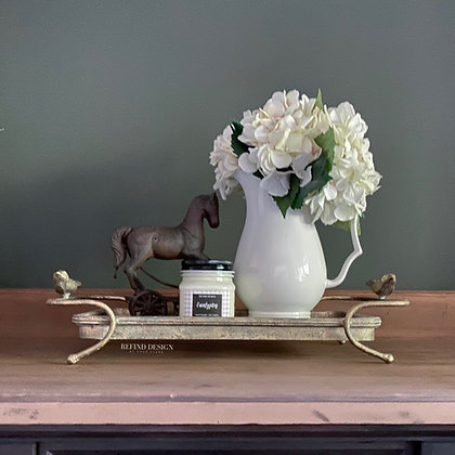 Vintage Style Metal and Glass Tray