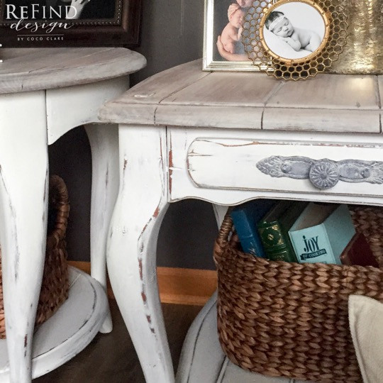 Shabby Chic Side Tables Redesigned with wet distressing