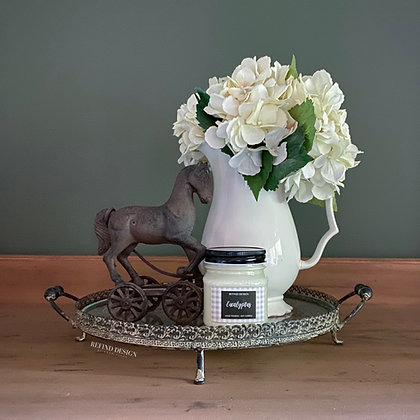 Vintage Style Round Metal and Glass Tray