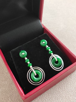 Drilled Beads Earring Natural Jadeit