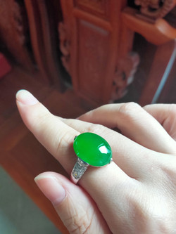 Cabochon Ring Natural Jadeite(TypeA)