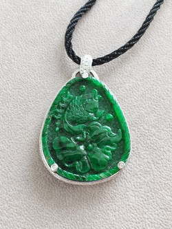 Fish and lotus leaf Natural Jadeite