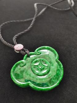 Ruyi head and coin Natural Jadeite (