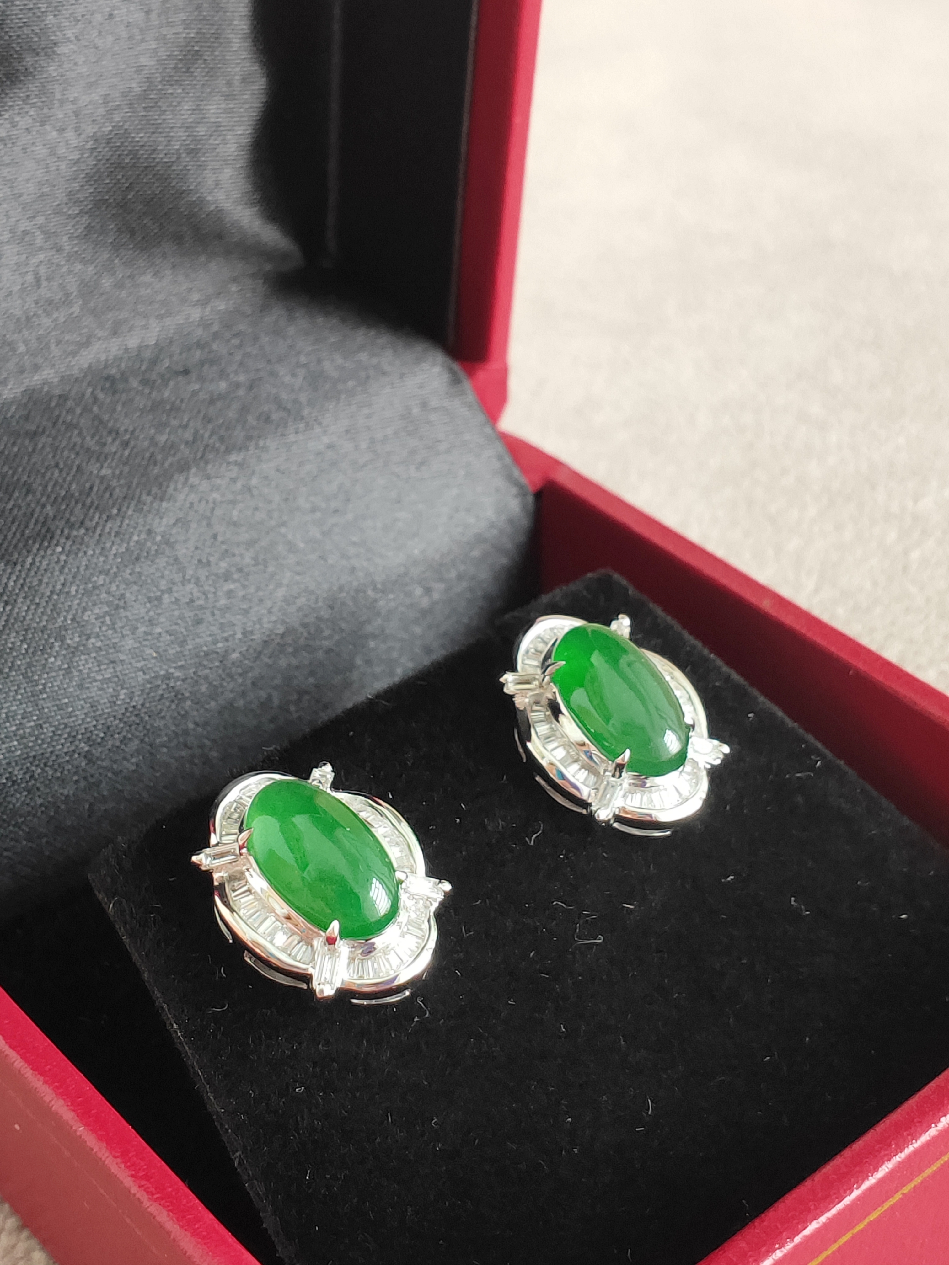 Cabochon Earring Natural Jadeite (A)