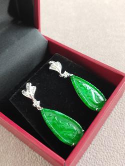 Pear Shape earring Natural Jadeite (