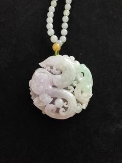 Dragon and phoenix Natural Jadeite (