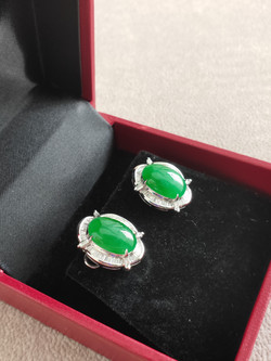 Cabochon Earring Natural Jadeite (Ty