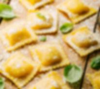 Process of cooking italian ravioli on wo