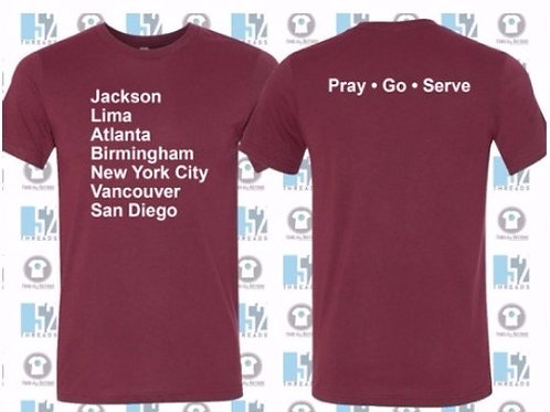 Adult Maroon T-Shirt - Youth Missions Fundraiser