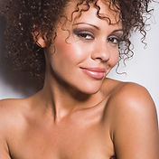 happy mixed race woman