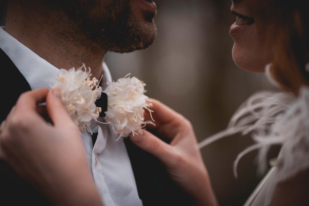 noeud papillon pour marié en fleurs séchées
