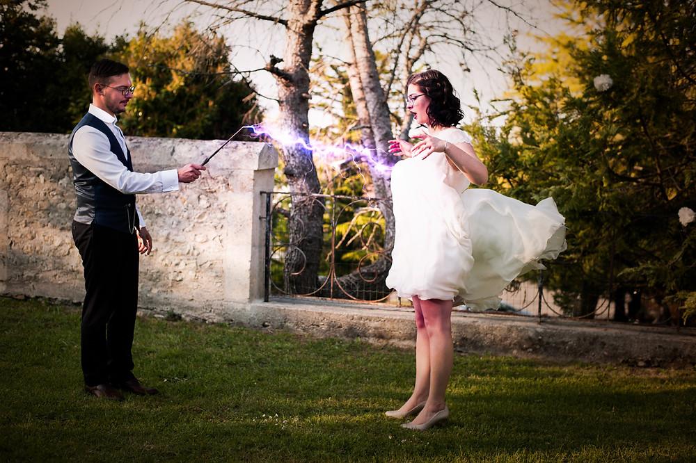 photo de mariage harry potter au chai pelletant, archiac