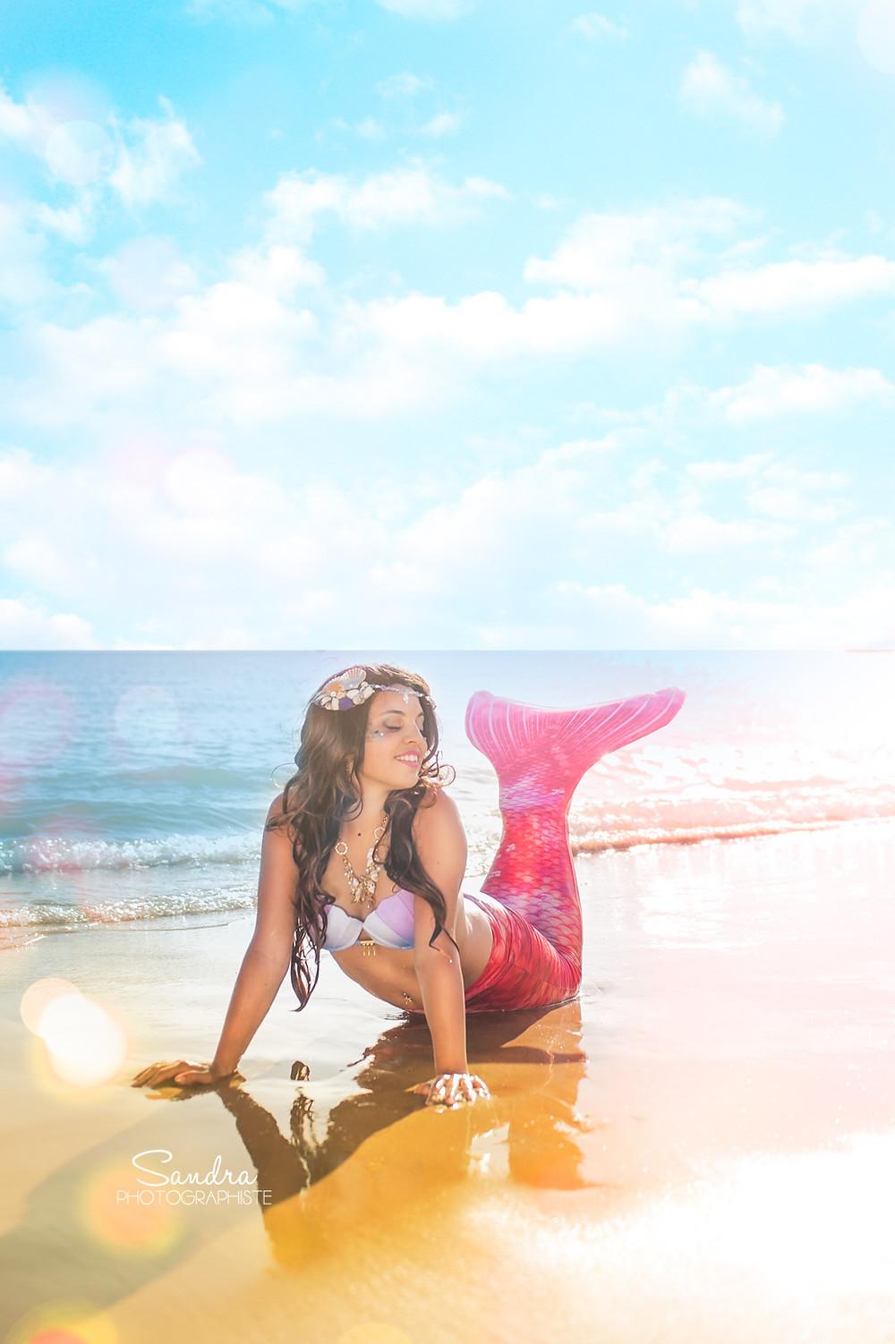 sirene photographe plage rose sable fille
