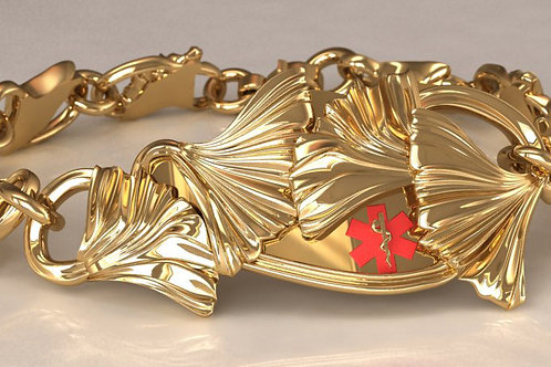 14K Gold Ginkgo Medical Bracelet w/ ginkgo links